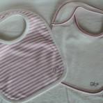 Pink or Green Stripe Bib Set (2 pcs)